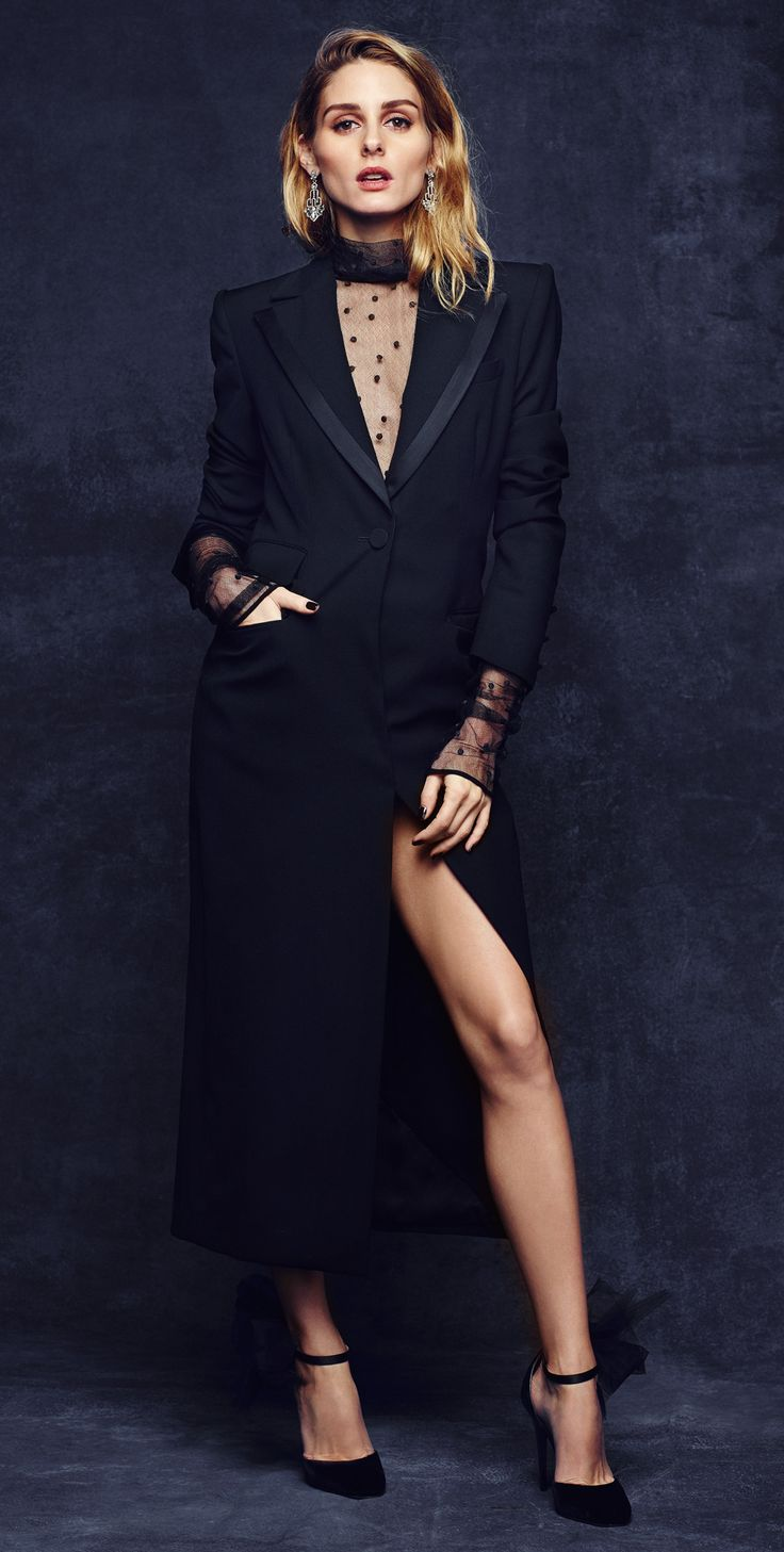 Black dress and coat - Olivia Palermo X Baublebar Monique Lhuillier Tuxedo Coat And Sheer Turtleneck And Jimmy Choo Lilith