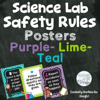 Science Lab Safety Rules Posters in Purple, Lime, and Teal