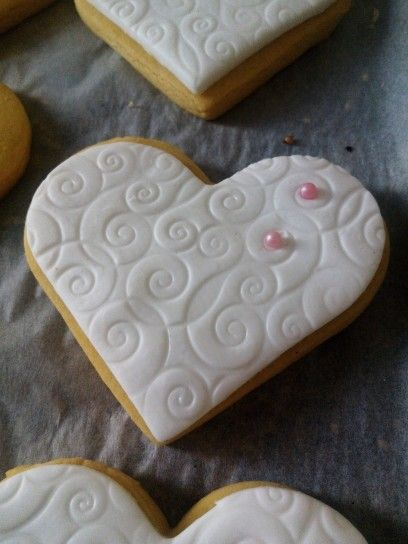 Heart of biscuit with sugar paste!
