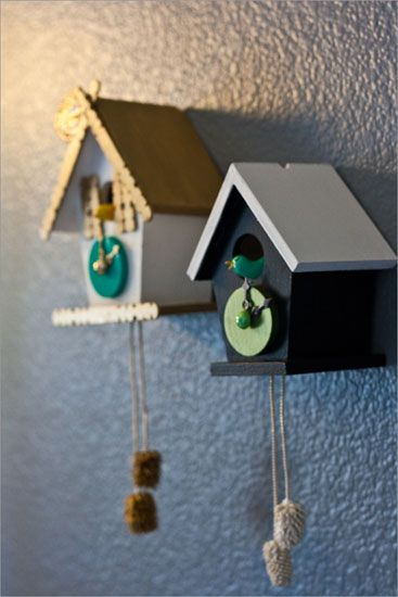 """Little homemade cuckoo clocks! (Or really, you could make a """"house"""" for peg dolls instead.)"""