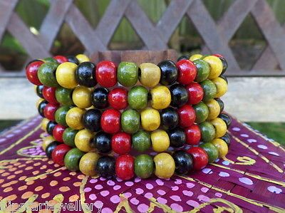 5-Strand-Wooden-Bead-With-Unique-Wood-Clip-Hippy-Bohemain-Multi-3-Allergy-Free