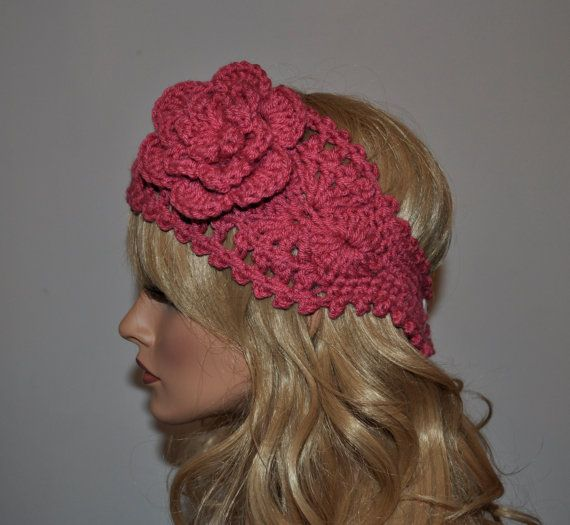 Crochet Ear Warmer, Handmade Crochet Headband with Flower. Fall and Winter Hair Accessories in Rose, Style 1WF