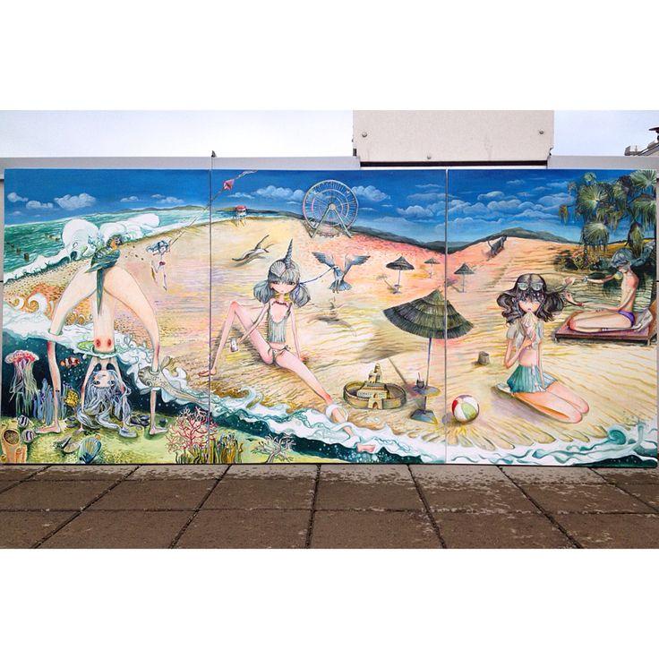 """SUNJUICE"" triptych, 250x100, acrylic on canvas, #micropop #popart #superflat #contemporaryart"