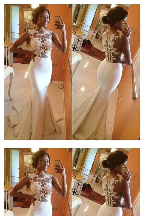 Custom Made Fetching Lace, High Neck, White, 2018