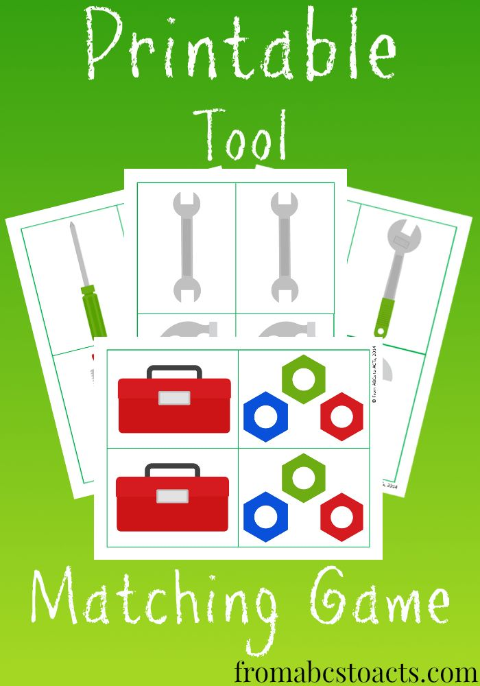 Memory Games for Kids – Free Printable Tool Matching - From ABCs to ACTs