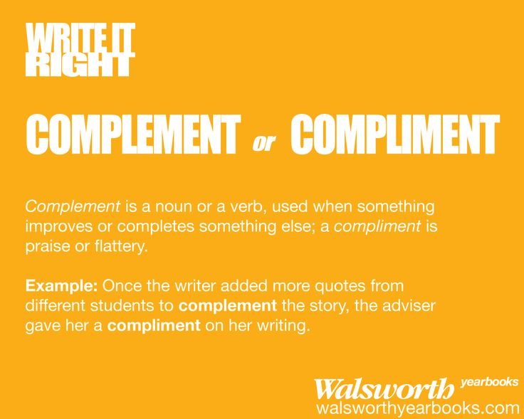 how to write complement in word