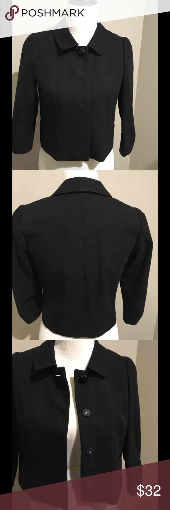 Banana Republic black jacket Black snap up jacket.  Woven fabric. Great for dress or fun with jeans 2P Banana Republic Jackets & Coats Blazers