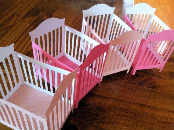 Baby Shower Favors 3 D Crib Decorations Unique Handmade Party Centerpiece