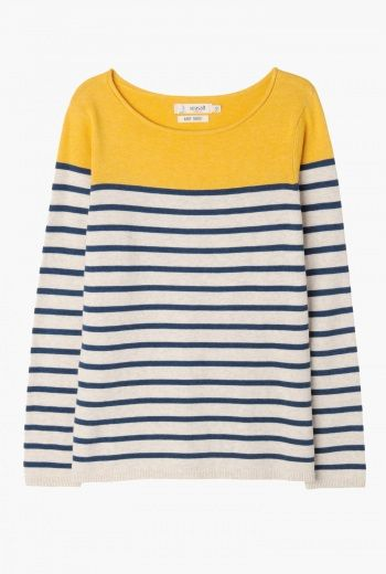 St. Issey Top | A timeless piece of knitwear with a classic Seasalt twist. A fine cotton knit jumper with long sleeves, smart horizontal stripes in navy and white with colour detail to the shoulders and chest. Lovely with denim for a day by the seaside. Available in a range of summery colours.