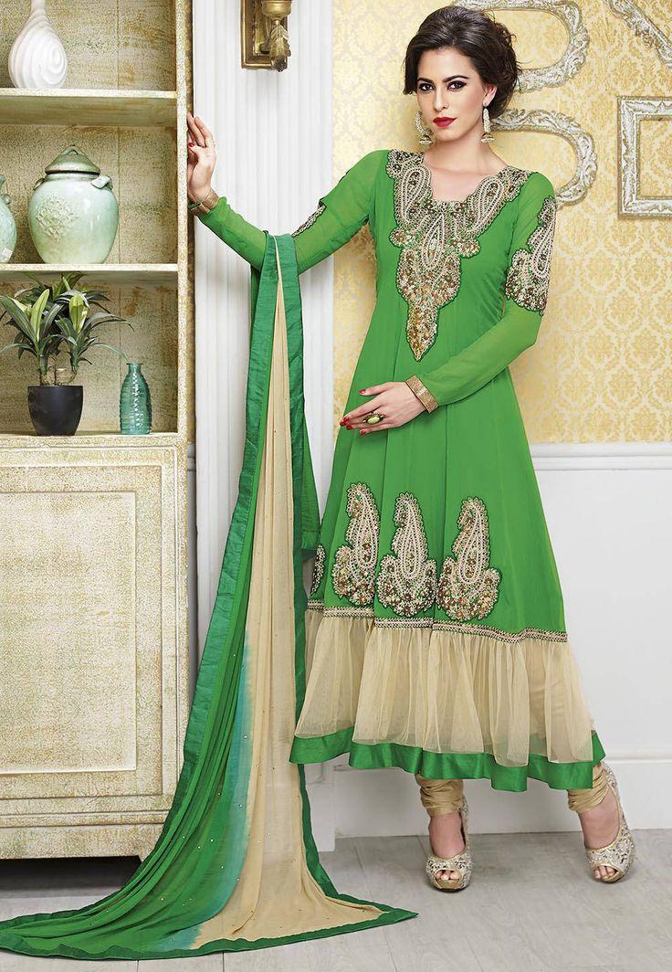 #Anarkali Suit #Green