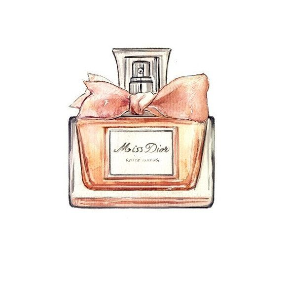 Miss Dior, Perfume Bottle, Watercolor Illustration, Art Print. $10.00, via Etsy.