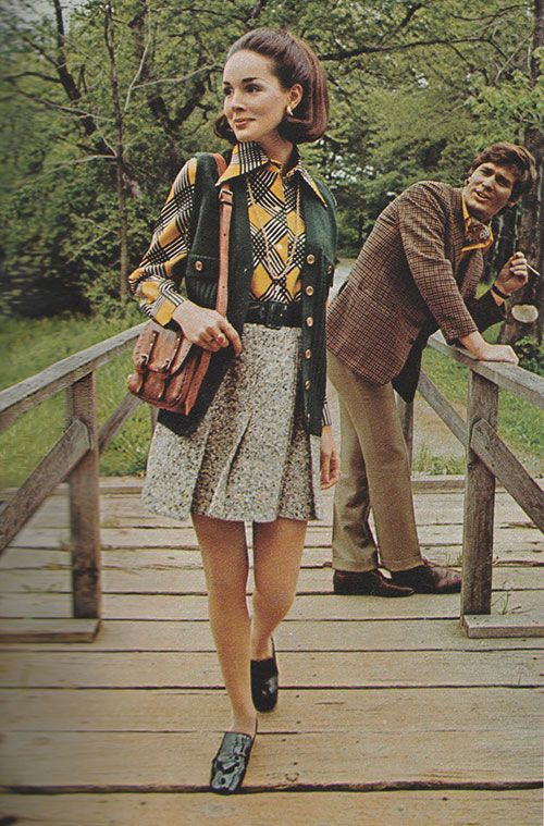 Just Seventeen -September 1969. 'Grey tweedwith the green of the forest and the gold of the sun.'