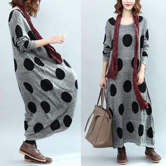 women loose knitting dress/women long dress/women gray long dress/women knitting…
