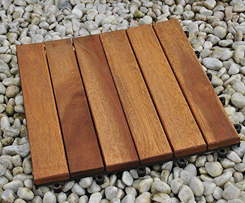 SAM® dalle click de terrasse en bois d'acacia, lot de 33 pour env. 3 m², dalle de jardin avec 12 lattes, revêtement de sol pour balcon avec…