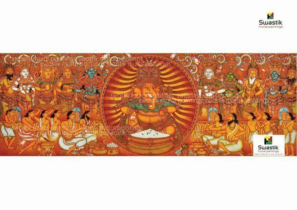 Ganapati pooja.....acrylic on canvas # kerala muralpaintings , # mural paintings # dubai mural paintings #  swastikmuralpaintings
