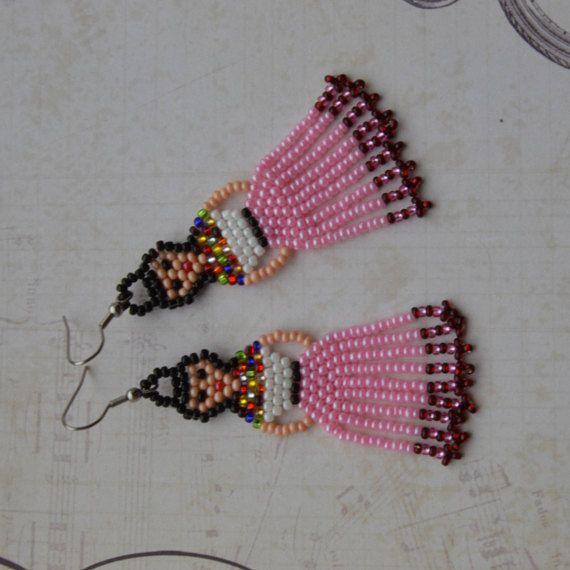 9598d0bf5 Mexican Lady Earrings Frida Kahlo earrings Mexican Fiesta Doll Earrings  Fringe earrings Tassel earrings Beaded Earrings