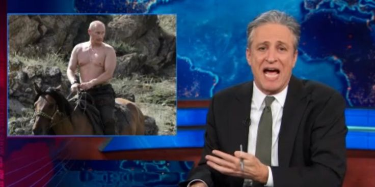 Jon Stewart: Fox News Pundits Are Putin-Obsessed | That flapping sound you hear is conservative pundits wanking themselves dry over Putin's shirtless Tiger-shooting masculinity.