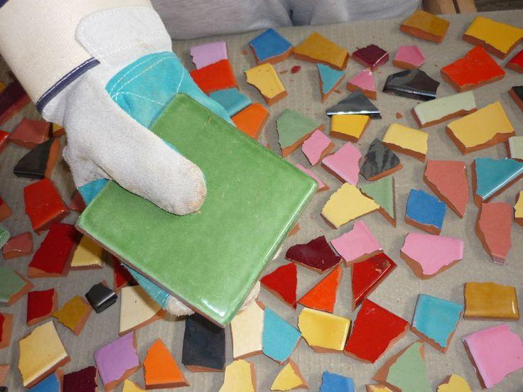 Mosaique tuto dessus de table 1er tape bricolage - Faire de la mosaique ...
