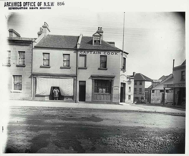 3.Captain Cook Hotel, cnr Kent St and Millers St, Millers Point. J. Boyce, bootmaker and storekeeper next door. Photo 1887-1889.   Flickr - Photo Sharing!