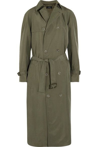 Joseph - Parachute Washed-silk Trench Coat - Army green - FR36