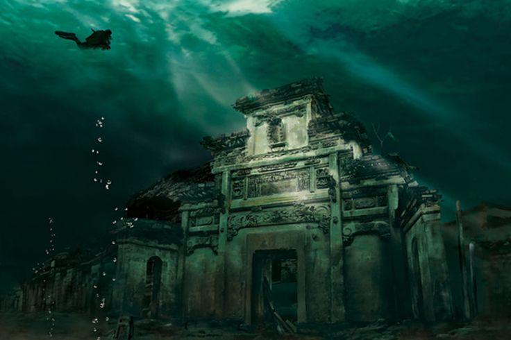 Cidade submersa – Shicheng, China Fundada há 1.300 anos, essa pequena cidade foi inundada mais de 50 anos atrás pelo rio Shicheng.  Veja mais aqui: http://misteriosdomundo.org/belos-ou-assustadores-os-39-lugares-abandonados-mais-incriveis-do-mundo/#ixzz3m0pmS2Bn