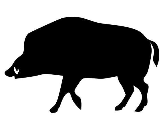 Wild Boar Hunter Decal , Hog Hunting Sticker , Hog Hunter , Boar Silhouette Decal