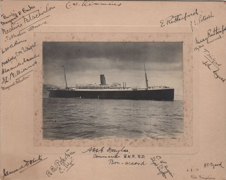 BRITISH SCIENCE: An unusual vintage photo depicting the ocean liner Euripides at sea, signed by twenty one individuals, some of them members of the British Association for the Advancement of Science, Commander and other crew members of the Euripides, including Ernest Rutherford (1871-1937, New Zealand-born British Physicist, the 'father of nuclear physics'. Nobel Prize winner for Chemistry, 1908) and his wife Mary Rutherford (1876-1954), Joseph Petavel (1873-1936, British Physicist)