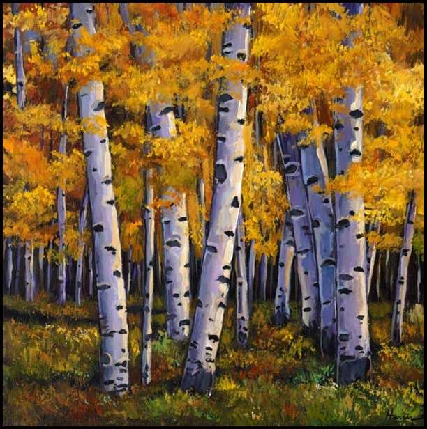 """""""Whispers."""" Autumn aspen trees in Colorado during the autumn. Original painting on canvas by artist Johnathan Harris."""