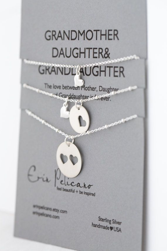 Grandmother, Daughter & Granddaughter Necklace set. Handmade of sterling silver
