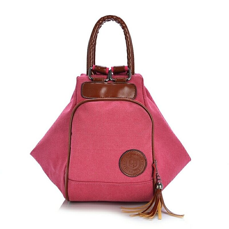 Multi Functional Women's Canvas Tassel Backpack Handbags Shoulder Bag - Pink  women  bags fashion