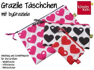 kostenlose Anleitung und Schnittmuster Grazile Täschchen - als Windeltasche, Stifttasche oder Minitäschchen