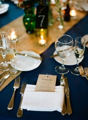 Burlap Table Runner U0026 Navy Table From Elizabeth Anne Designs