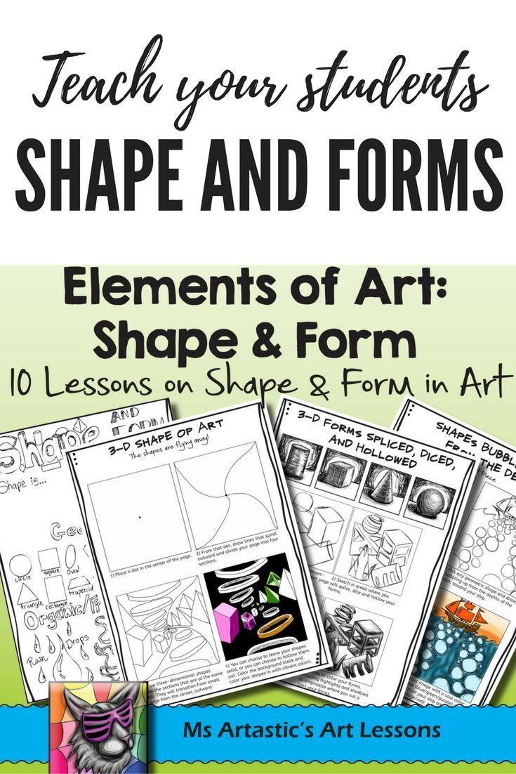 10 Lessons on Shape and Form for your Middle School and High School students! Students will learn and apply the elements of art through a variety of instructional and informational lessons and worksheets! Teach the Elements of Art: Shape and Form to your Middle School or High School Class. Learn a variety of techniques and apply the elements to art projects or sketchbook work.