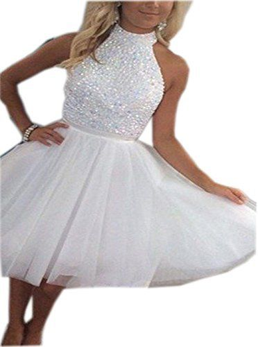TANGFUTI Women's Beaded Homecoming Dress Short Tulle Prom Gown 068