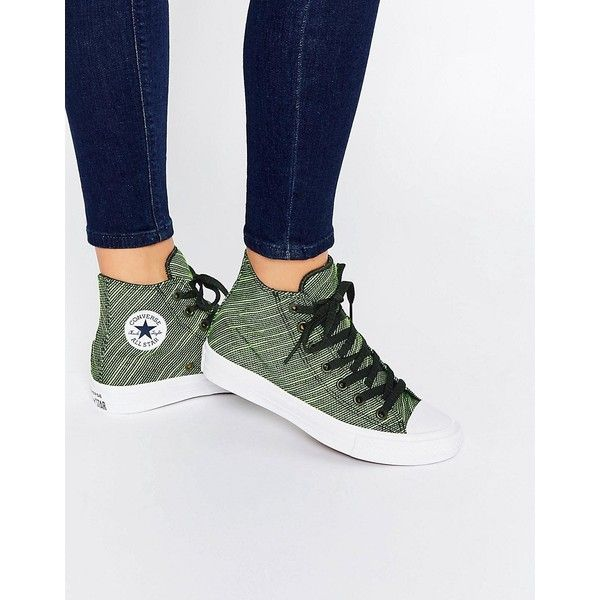 Converse Knit Chuck Taylor All Star II Green & Black High Top Trainers (£65) ❤ liked on Polyvore featuring shoes, sneakers, green, arch support shoes, green high top sneakers, black lace up shoes, green sneakers and converse high tops