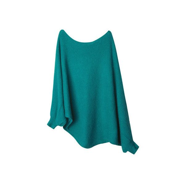 Street Style Anomalous Sleeves Green Jumpers ($67) ❤ liked on Polyvore featuring tops, sweaters, kazak, romwe, blue green sweater, green jumper, blue jumper, blue sweater and jumpers sweaters