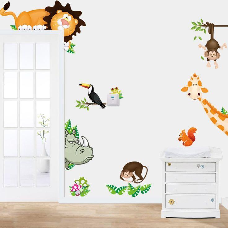 Elefant-löwe-Affen-Giraffen-cartoon-wand-aufkleber-für-kinderzimmer-tier-lustige-kinder-vinyl-aufkleber.jpg (1000×1000)