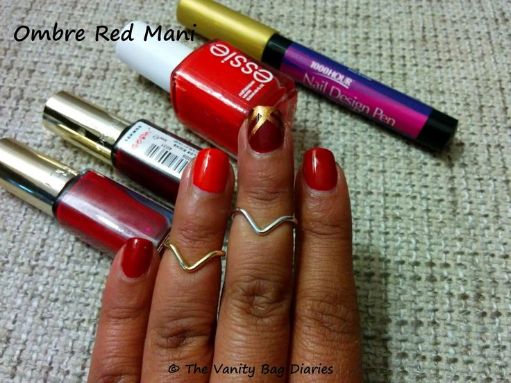 This Manicure Monday brings to you an Ombre Red manicure featuring Loreal 'Scarlet Vamp', Loreal 'Femme Fatale' and Essie 'Fifth Avenue'. I hauled this 1000 Hour Gold Nail Design recently and you can see that I dabbled with some nail art, not very neat I must say, but was fun. I will try some more s