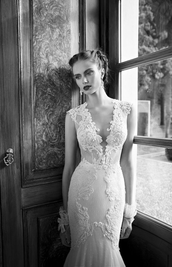 berta lace wedding dress with sexy plunging neckline