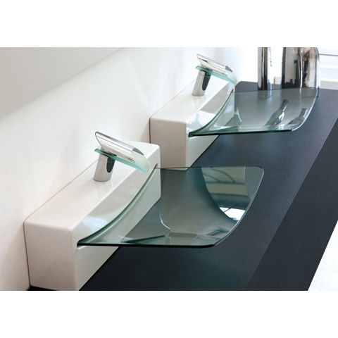 Luxury Bathroom Idea With Crystall Wall Top Sink