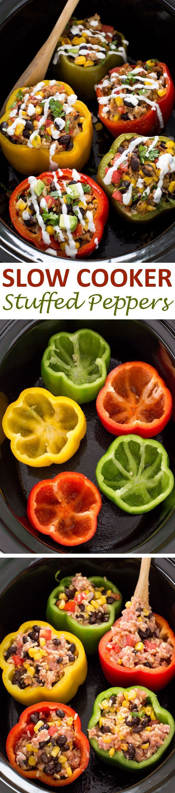Mexican Slow Cooker Stuffed Peppers. Loaded with enchilada sauce, black beans and corn. A quick, easy and satisfying meal! | chefsavvy.com #recipe #slowcooker #crockpot #dinner #stuffed #peppers #dinner