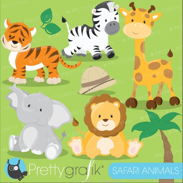 Safari animals clipart includes an elephant, lion,tiger, giraffe and more.