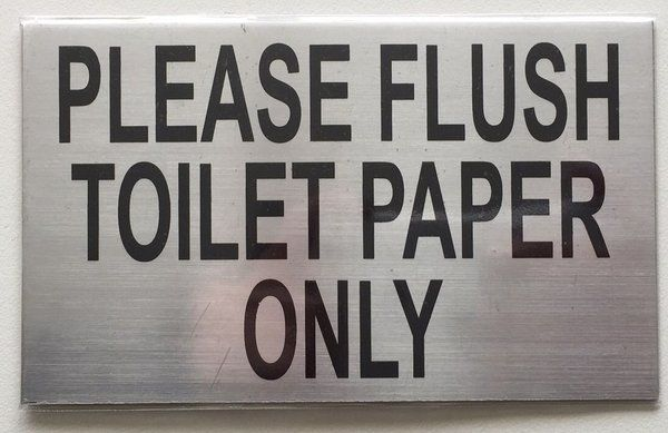 NYC DOB FLUSH ONLY TOILET PAPER SIGN (ALUMINUM DOB NYC SIGN 3X5)