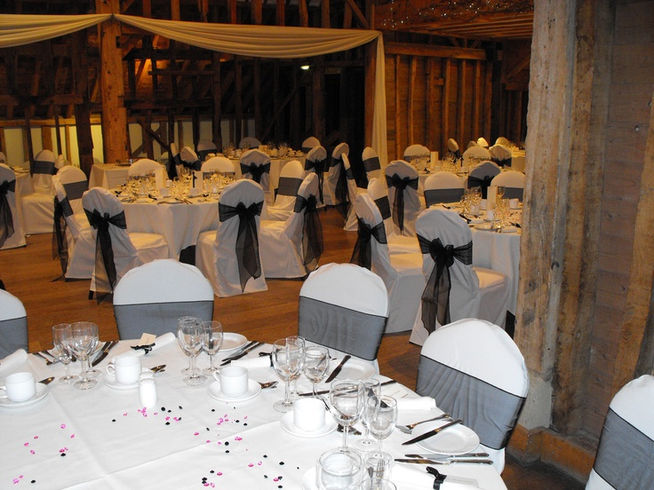 Black Organza Bows on White Chair Covers