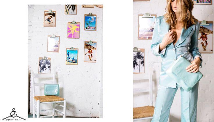 Shop Louis Vuitton Monogram Vernis Thompson Street Bag, Louis Vuitton Patent Leather Sandals, Joseph Blazer and Joseph Pants at www.sabrinascloset.com.