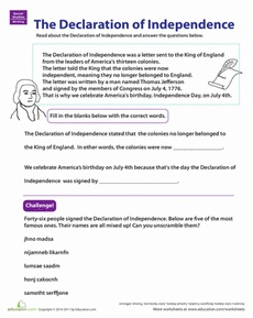 Worksheets Declaration Of Independence Worksheets 1000 images about declaration of independence on pinterest learn the worksheet