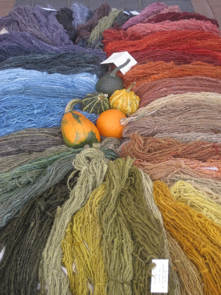 Beautiful collection of wool dyed with natural materials. The colors remind me of the colors I got during a three day workshop I was in this fall.