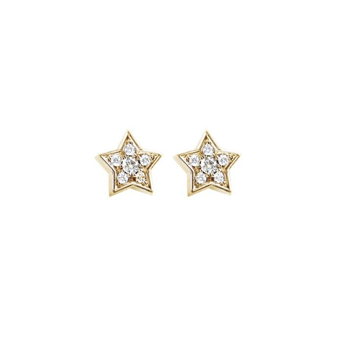 Star earrings in 18K yellow gold and diamonds TW.VS - Earrings | OLE LYNGGAARD COPENHAGEN