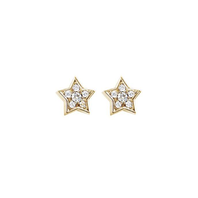 Star earrings in 18K yellow gold and diamonds TW.VS - Earrings | OLE LYNGGAARD COPENHAGEN