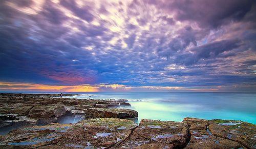 Sunrise and Colour behind the Baths. Newcastle Ocean Baths (NSW, Australia).
